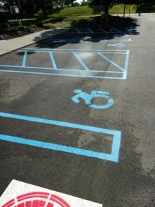 Handicap, ADA racing, wheelchair, logo, stencil, line striping, parking lot painting
